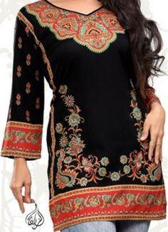 Alsharifa.com - TheBalqees Gold-Accented Hip-Length Indian Kurti Tunic, $22.00 (http://shop.alsharifa.com/thebalqees-gold-accented-hip-length-indian-kurti-tunic/)