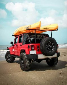Jeep with a kayak rack Jeep 4x4, Jeep Truck, Jeep Wrangler Kayak Rack, Ford Trucks, Kayak Trailer, Jeep Mods, Truck Mods, Offroader, Terrain Vehicle