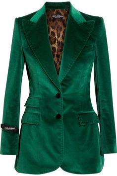 Emerald Green Dolce & Gabbana Velvet Blazer with Tuxedo Lapel Green Velvet Jacket, Green Blazer, Green Jacket, Blazer Jacket, Blazers, Valentino Gowns, Polka Dot Blazer, Outfits Mujer, Velvet Fashion