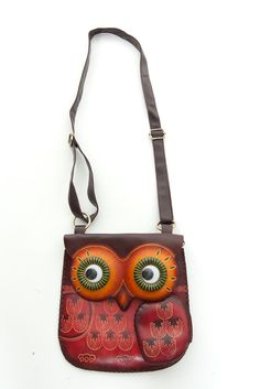 Unique Hand-Made Leather Throwback Owl Purse