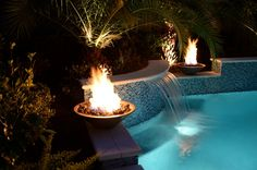 Katy Water Features Photos | Houston Waterfalls | Raised Spas - Pool with Spa and Firebowls and Sheer Descents