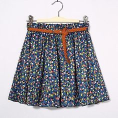 Women's Casual Print Loose Chiffon Skirt (with Belt) – USD $ 13.99