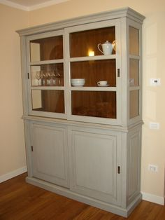 Tulipier Wood Kitchen Dresser With Two Drawers And Two Cupboards With  Corresponding Sliding Door.