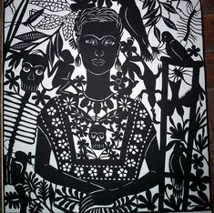 Frida Kahlo made of Papel Picado (punched paper) by Margarita Fick