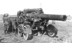 Mise en batterie d'un obusier de 210/22, italian Army WWII, pin by Paolo Marzioli