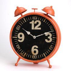 Horloge à poser en métal orange noir forme reveil VINTAGE Amadeus