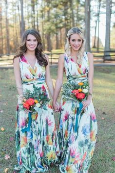 Image result for green long bridesmaid dresses with bright flower bouquet