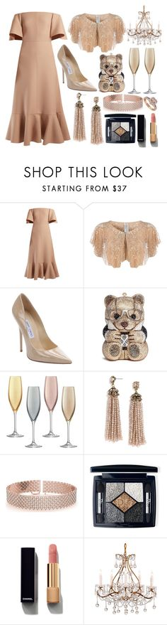 """The black tie affair"" by pulseofthematter ❤ liked on Polyvore featuring Valentino, Dorothy Perkins, Jimmy Choo, Judith Leiber, LSA International, BaubleBar, Allurez, Christian Dior and Chanel"