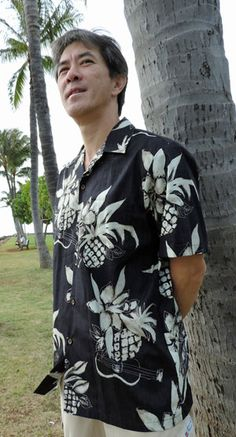 cc59a8d7e Ukulele Pineapple Men's Hawaiian (RJC) R. J. Clancey Shirt created in Black,  Burgundy and Blue. MauiShirts search box stock number: 102C-1046