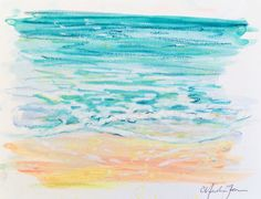 One of a kind original oil pastel drawing of the Sea Shore