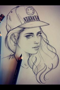 girl, drawing, and nirvana image Nirvana, Caricature, Debussy La Mer, Art Black Love, Rik Lee, King Photo, Character Design Animation, Doodle Sketch, Sketch Painting