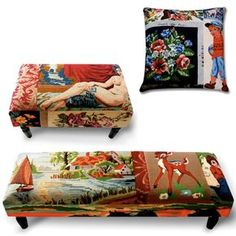Frédérique Morrel vintage tapestry ottomans and cushion.