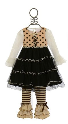 One Posh Kid Holiday in Paris Tutu Dress with Legging (12Mos,18Mos,3T,6)