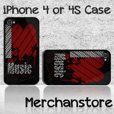 I Love Music Custom iPhone 4 or 4S Case Cover