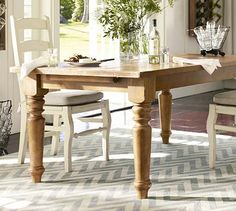 Sumner Extending Dining Table Similar to the farmhouse table in the breakfast room off my family room from pottery barn Extendable Dining Table, Dining Table Chairs, Wood Tables, Wooden Chairs, Furniture Upholstery, Home Furniture, Furniture Shopping, Outdoor Furniture, Farmhouse Table