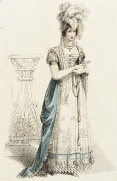 Court dress, fashion plate, hand-colored engraving on paper, published in Ackermann's Repository, London, July 1820.