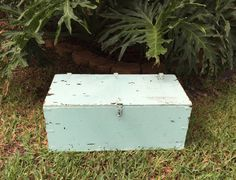 WWII Military Foot Locker Wooden  Storage Box with Metal Hinges  Rustic wooden military foot locker that has been painted aqua green.  This wonderful piece of history has a... #vintage #etsy #gifts