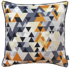 The Rocco Quartz cushion features a digital geometric pattern with self piping. The cushion is made from 100% polyester.