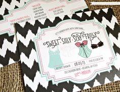 Lingerie Shower Invitations - Bridal Shower - Something sweet, silly, sexy, frilly - Chevron Ikat - Sticker Add Ons on Etsy, $25.00