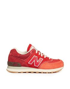 new balance red suede 574 trainers