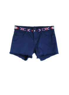 Joe's Cut Off Short in Azul! Navajo-inspired embroidery fakes a belt!!