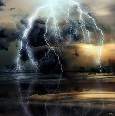 God's Fireworks (by Ms Ladyred). Lightening, water, storm clouds, beauty of Nature, photo All Nature, Science And Nature, Amazing Nature, Tornados, Thunderstorms, Thunderstorm Clouds, Beautiful Sky, Beautiful World, Simply Beautiful