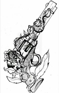 Gun tattoos for women Gun Tattoo Ideas - # for . Tattoo Sketches, Tattoo Drawings, Cool Drawings, Body Art Tattoos, Cool Tattoos, Tatoos, Girl Gun Tattoos, Pretty Tattoos, Arm Tattoo