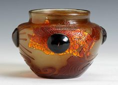 Rare Sgn. Galle Cameo Vase w/Sunflower   Cottone Auctions