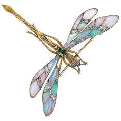 Gaston Lafitte Opal Diamond Tremblant Dragonfly Brooch | From a unique collection of vintage brooches at https://www.1stdibs.com/jewelry/brooches/brooches/