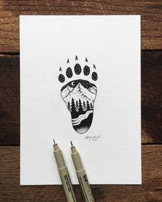A different paw print for me but same basic principle. pen and ink illustration by artist sam larson. Image Clipart, Art Clipart, Ink Illustrations, Illustration Art, Stylo Art, Et Tattoo, Kunst Tattoos, Art Watercolor, Desenho Tattoo