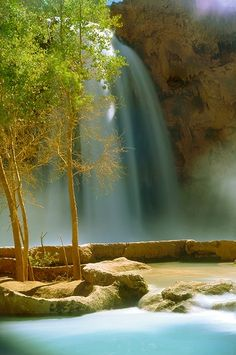 Havasu Falls, Grand Canyon, Arizona. Located within Havasupai tribal lands, the area has hiking picnic tables...