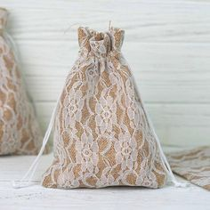 10 Pack Rustic Burlap and Floral Lace Drawstring Favor Bags Wedding Favours To Make, Champagne Wedding Favors, Wedding Reception Favors, Elegant Wedding Favors, Wedding Favor Bags, Unique Wedding Favors, Party Favor Bags, Gifts For Wedding Party, Favor Boxes