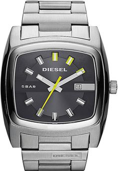 a75ef7b7fbd Mens Diesel Watch Men s silver stainless steel square watch with dark face  and neon accents. Hands glow in the dark. Used once but has all links and  is in ...