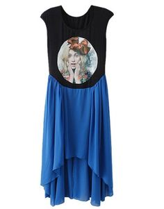 Indressme | Asymmetric Beauty Printed Blue chiffon dress style 234201 only $56.99 .