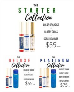 NEW collections available that include our amazing Fooops remover! Fooops is to remove your LipSense and other senegence makeup where the Ooops remover is just for little mistakes not for removing it. It's a better deal to get a product that does it all! #lipsense