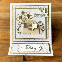 Sweet Honey Bee Easel Card for the Alphabet Challenge (Secrets to Stamping) Fancy Fold Cards, Folded Cards, Honey Bee Facts, Honey Bee Stamps, Bee Cards, Anna Griffin Cards, Shaped Cards, Easel Cards, Card Tutorials