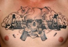 Skull Guns Chest Piece Tattoo Ideass Design - http://tattoosaddict.com/skull-guns-chest-piece-tattoo-ideass-design.html #Chest, #Design, #GunTattooS, #Guns, #Ideass, #Piece, #Skull, #Tattoo