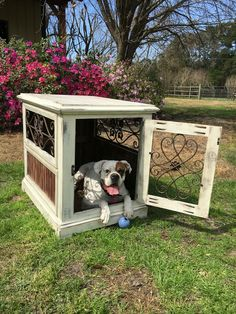 Wood indoor dog kennel. Handcrafted, rustic charm. Facebook/inthedoghousekenneldesigns/