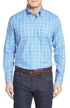 Peter Millar Coral Check Sport Shirt. #petermillar #cloth #
