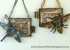 Layers of ink - Bee and Dragonfly Burlap Panels Tutorial by Anna-Karin Evaldsson