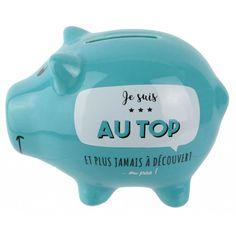 Banque petit cochon / Piggy Bank Je suis AU TOP et plus jamais à découvert ou presque, Ouverture en dessous Couleur : Bleu en Céramique Dimension : 12 cm x 8 cm,  tirelire, cadeau, cochon, lideecadeauweb Plus Jamais, Piggy Bank, Graduation, Blue, Color, Money Box, Openness, Gift, Lingerie