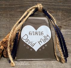 Custom Wedding Cowbell. Wedding Bells, Kissing Cowbell, Names, Country Decor, Country Wedding, Farm Wedding, Ranch Wedding, Cowboy Wedding, Cowgirl Wedding, Rustic Wedding, Cabin, Ranch, Lodge, Cattle Ranch. Cows Theme, Rustic Decor, Western Decor. Kissing Bell, Wedding Favors, Wedding Cake Topper. Etsy, HorseShoeFever.