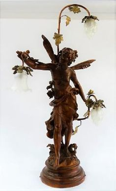 L. MOREAU LARGE SPELTER LAMP OF A FAIRY ON BASE