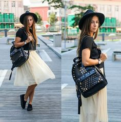 Eliska H. - Aldo Studded Backpack, H&M Slip On Sneakers - Tulle Skirt