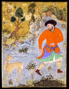 "*Cross gartering?  Miniature painted on cotton fabric. ""Man with a Saluki""  Iran; c. 1555"
