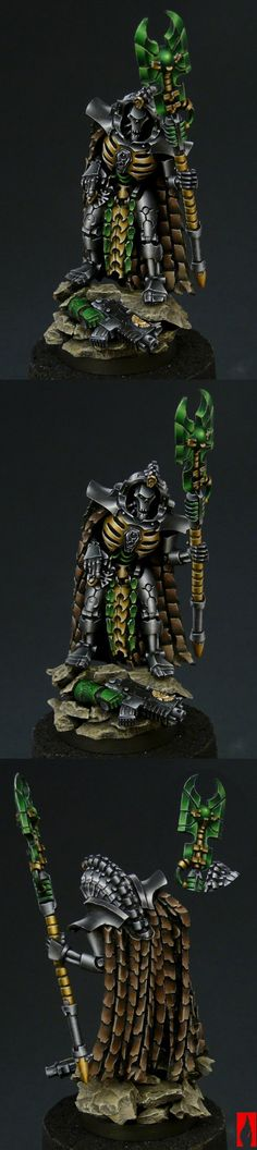 Necron Lord Special Character I don't really keep up with the latest greatest models and rules. But this model is exceptionally well painted, the greens and the silver metallic bits particularly. Again from the Chest of Colors team. Warhammer 40k Necrons, Warhammer Models, Warhammer 40k Miniatures, Miniaturas Warhammer 40k, Grey Knights, Art Sites, Starcraft, Mini Paintings, Special Characters