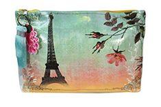 Vintage Retro Paris France Eiffel Tower Graphic Art Design Oil Cloth Large Make-up or Accessory Travel Bag Review