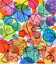 Lámina Margaret Berg Art: Birthday Dots with Icons Happy Birthday Images, Happy Birthday Greetings, Birthday Pictures, Birthday Wishes, Art Birthday, Birthday Wallpaper, Happy B Day, Handmade Birthday Cards, Art Plastique