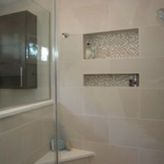 Shower niches in line with tile/grout but decorative tile back