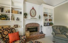 Nice fireplace and built ins